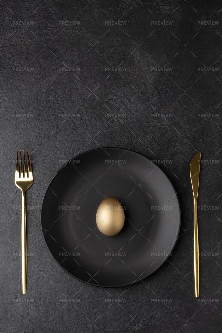Golden Egg For Dinner: Stock Photos
