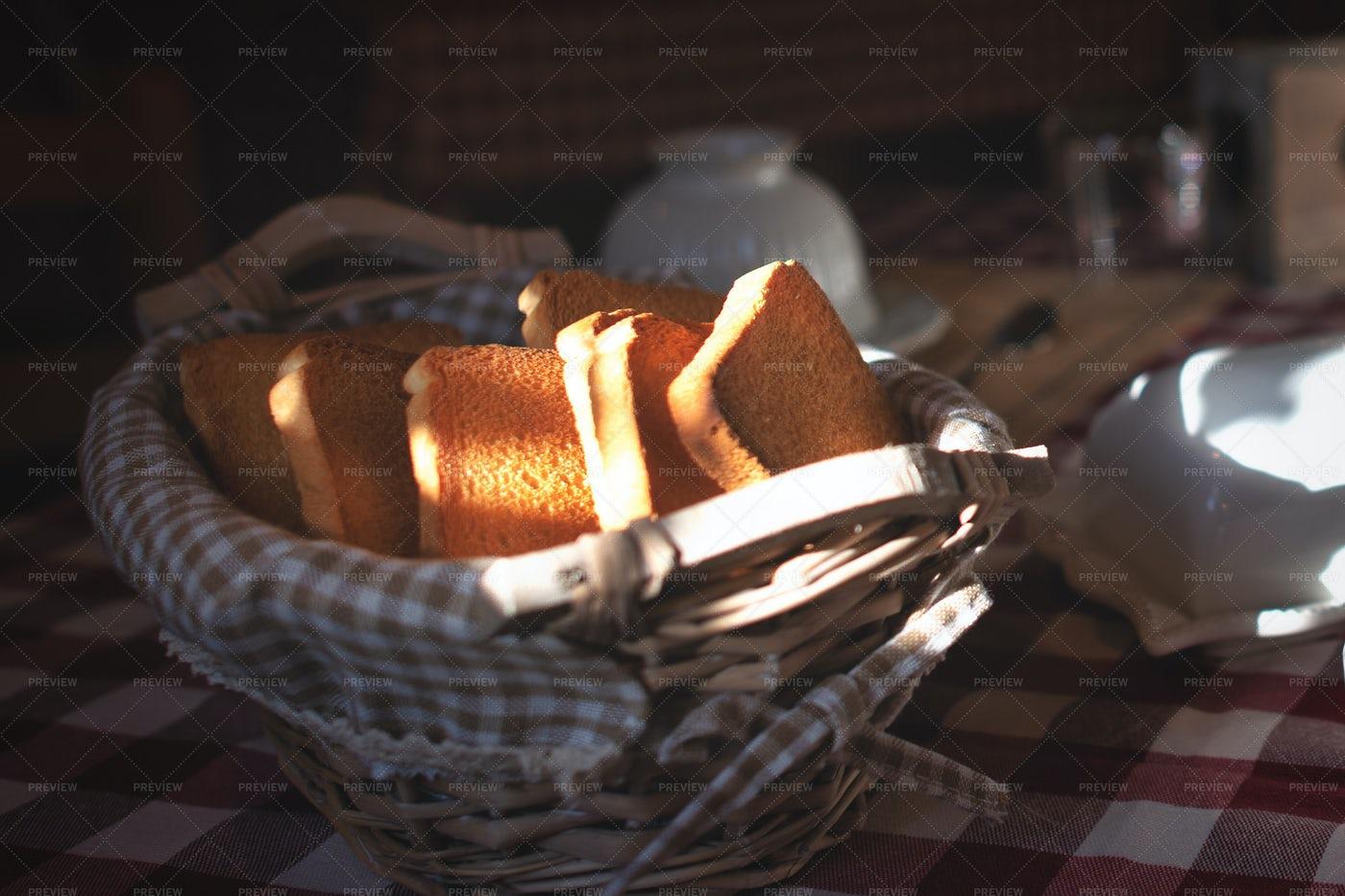 Basket Of Toast: Stock Photos
