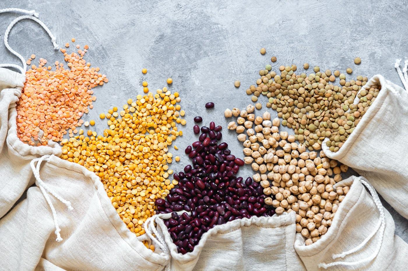 Sacks Of Different Beans: Stock Photos