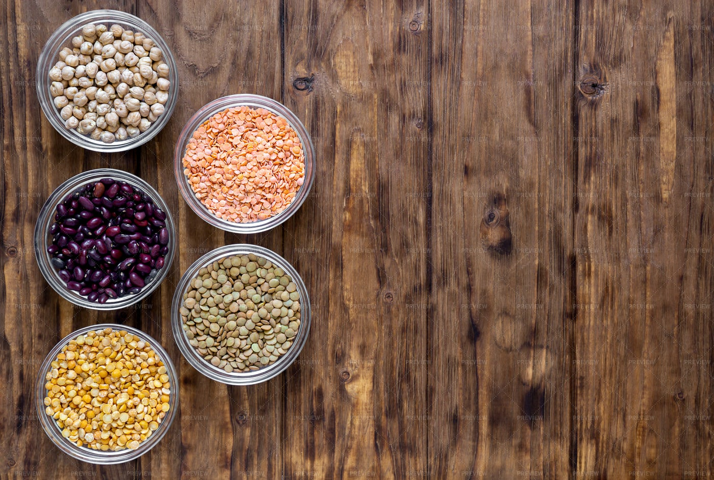 Various Beans In Bowls: Stock Photos