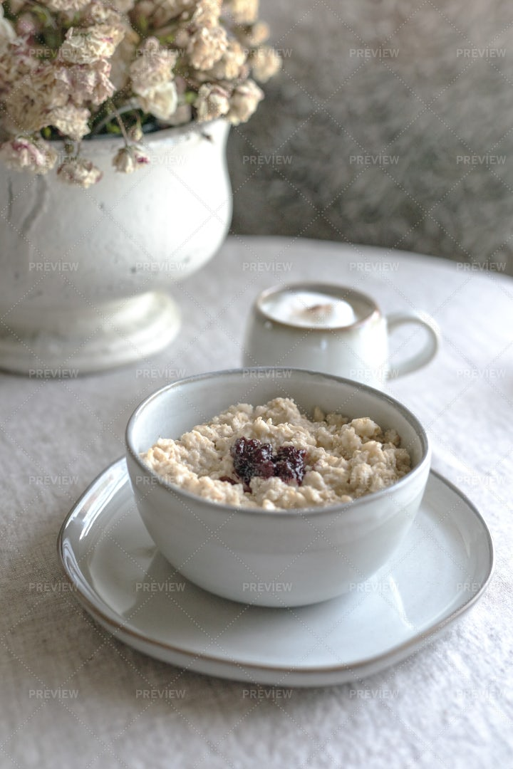 Oatmeal In A Coffee Cup: Stock Photos