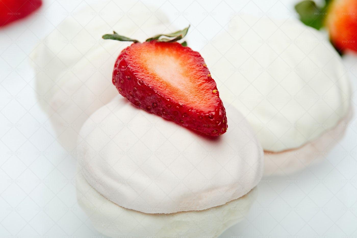 Marshmallows Topped With Fruit: Stock Photos