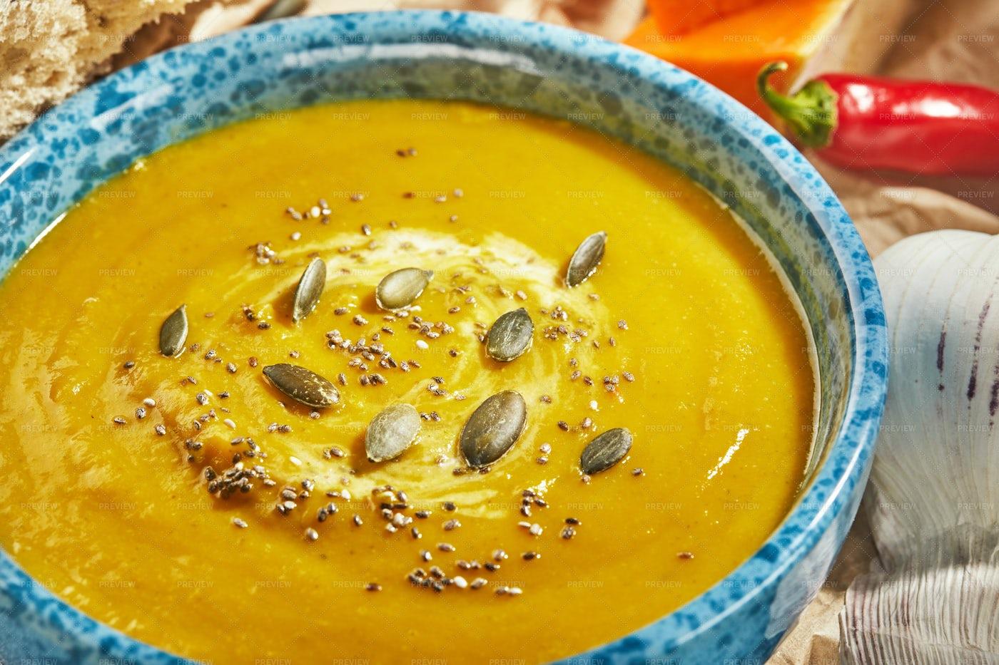 Pumpkin Soup With Seeds: Stock Photos