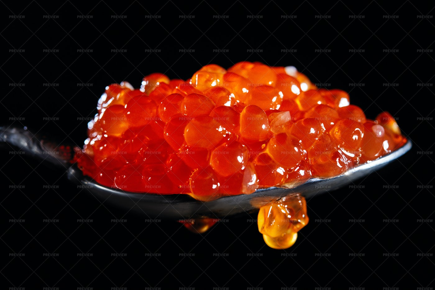 A Spoonful Of Red Caviar: Stock Photos