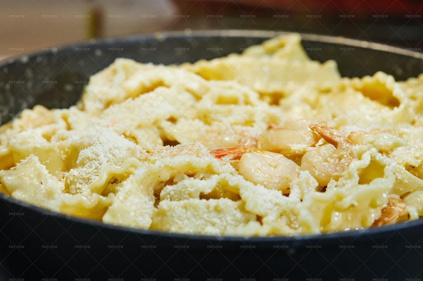 Prawns With Italian Pasta: Stock Photos