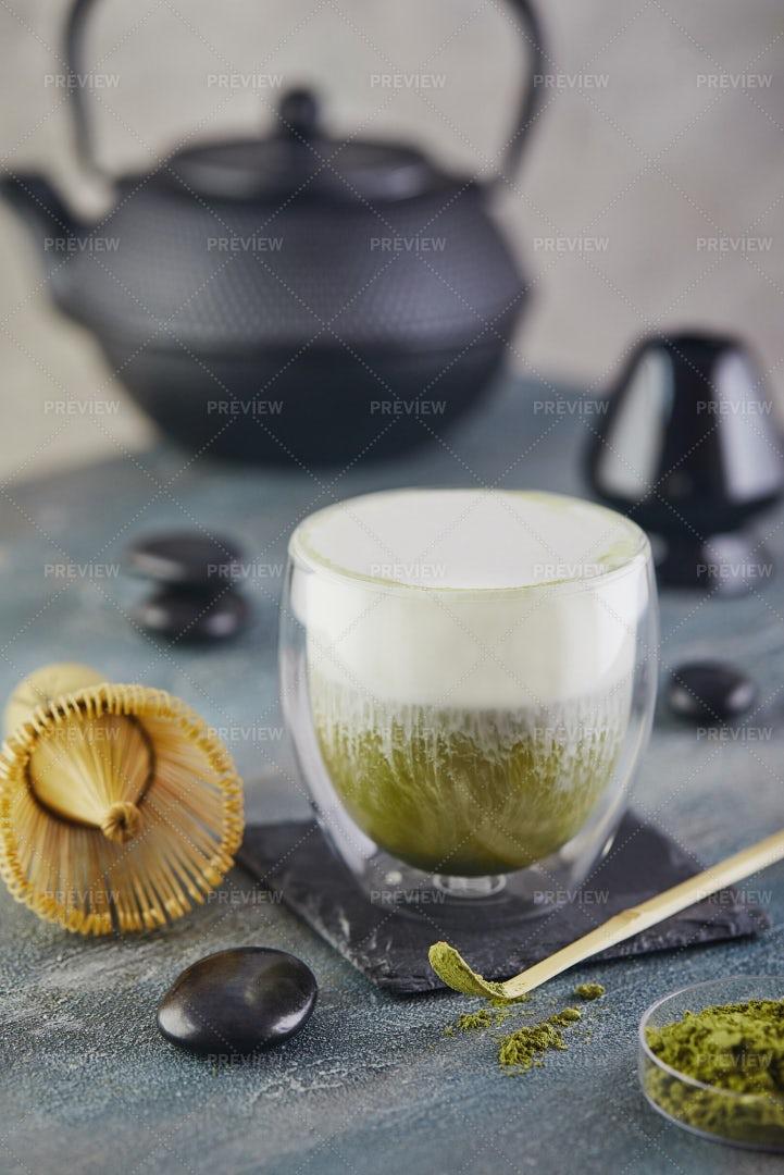 Prepared Matcha Green Tea: Stock Photos