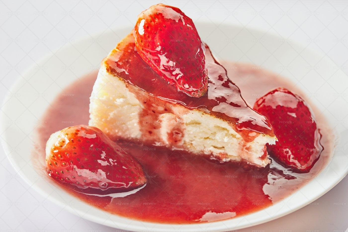 Cheesecake And Strawberry Jam: Stock Photos