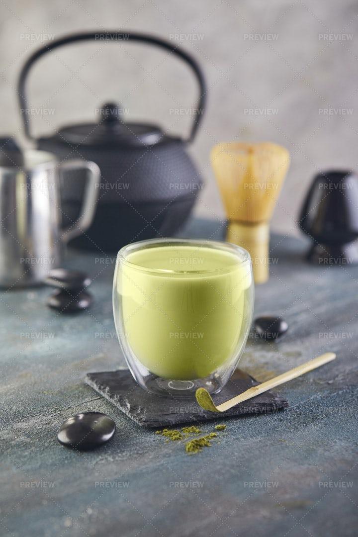 Glass Of Matcha Tea: Stock Photos