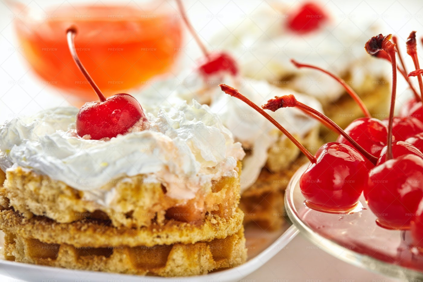Waffles With Cherries: Stock Photos