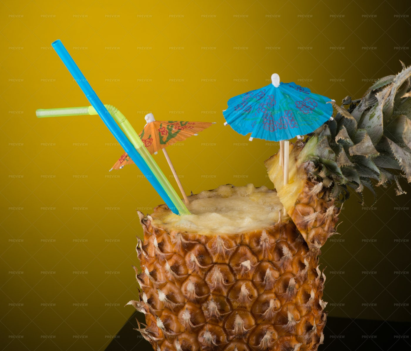 Cocktail In A Pineapple: Stock Photos
