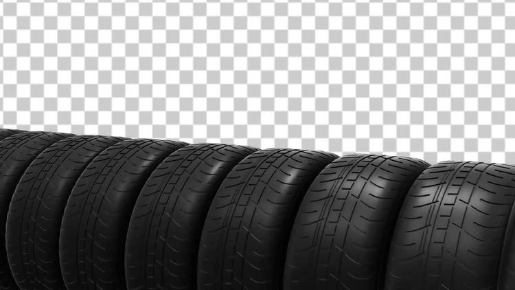 Car Tires Animation With Alpha Channel: Motion Graphics