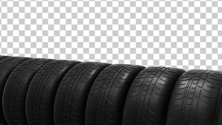 Car Tires Animation With Alpha Channel: Stock Motion Graphics