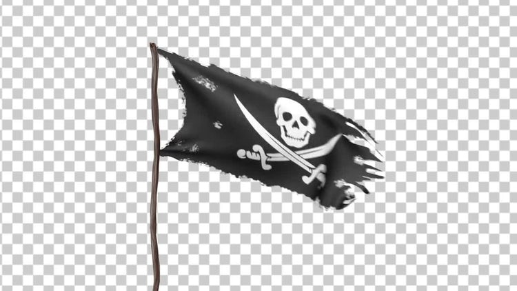 Pirate Flag In Wind With Alpha Channel: Motion Graphics