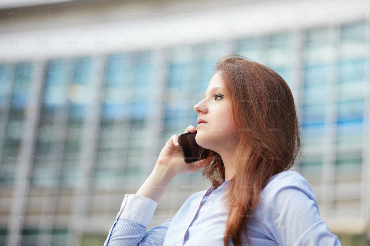 Woman In A Call: Stock Photos