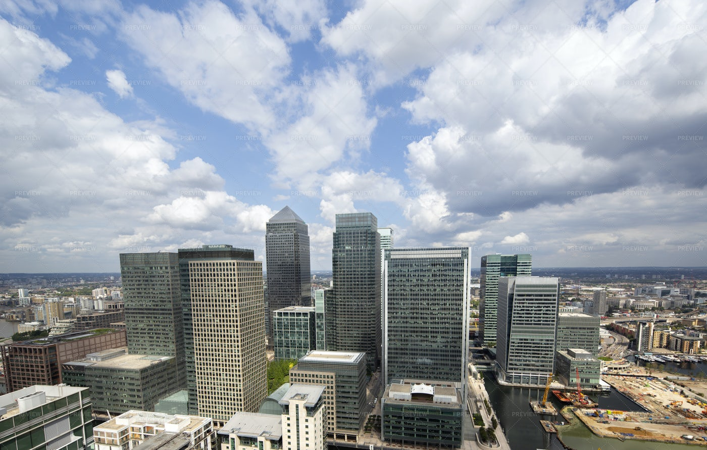 Clouds Over London Docklands: Stock Photos