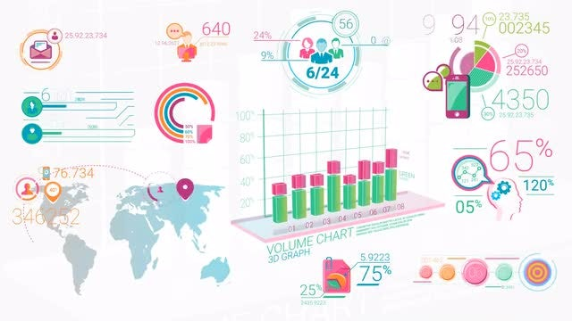Colorful Corporate Infographic Elements: Stock Motion Graphics