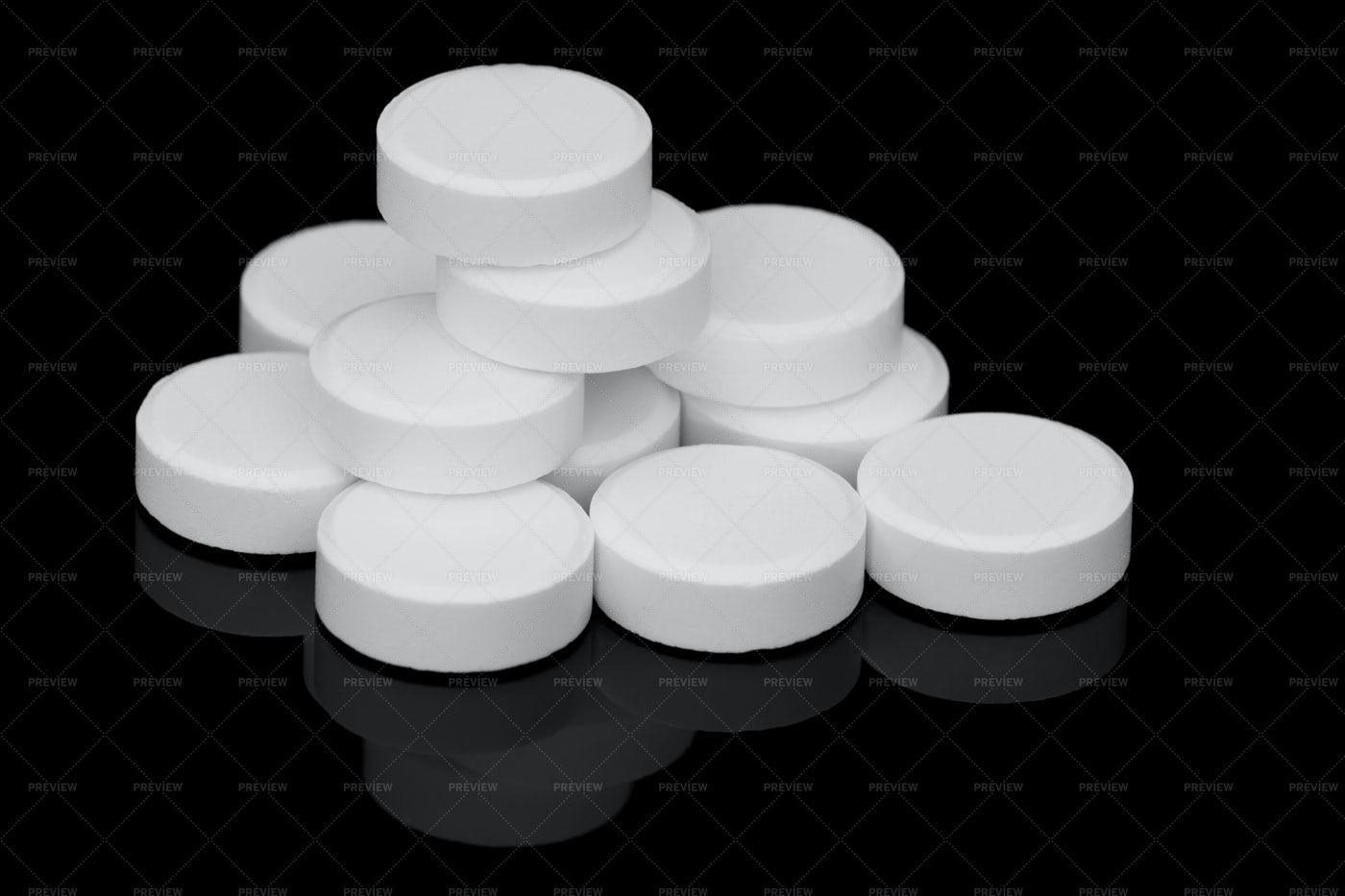 White Pills Stacked: Stock Photos