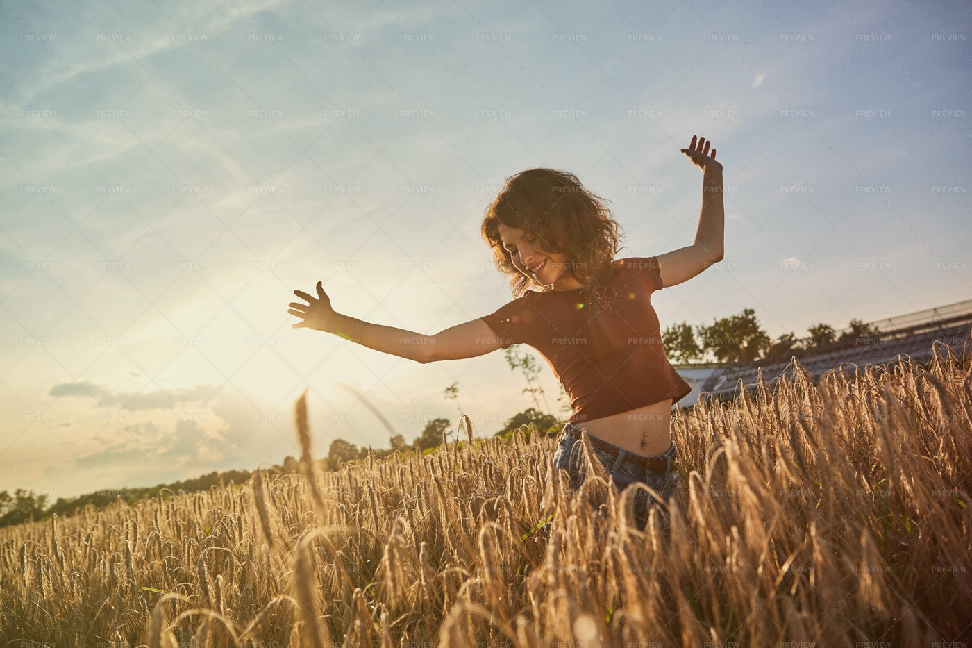 Dancing In Wheat Field: Stock Photos