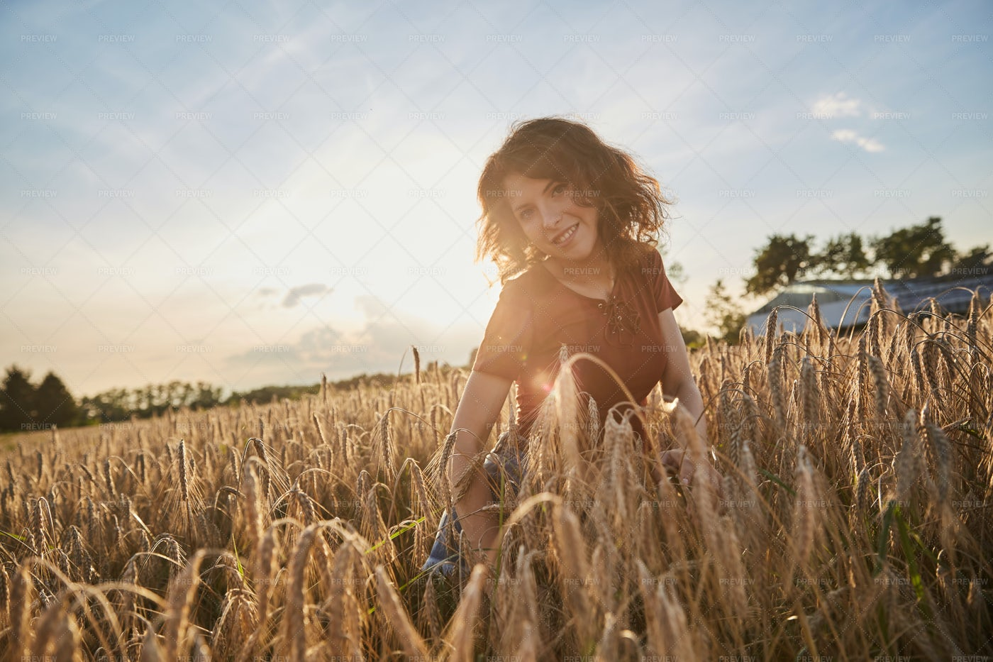 Woman On Wheat Field: Stock Photos