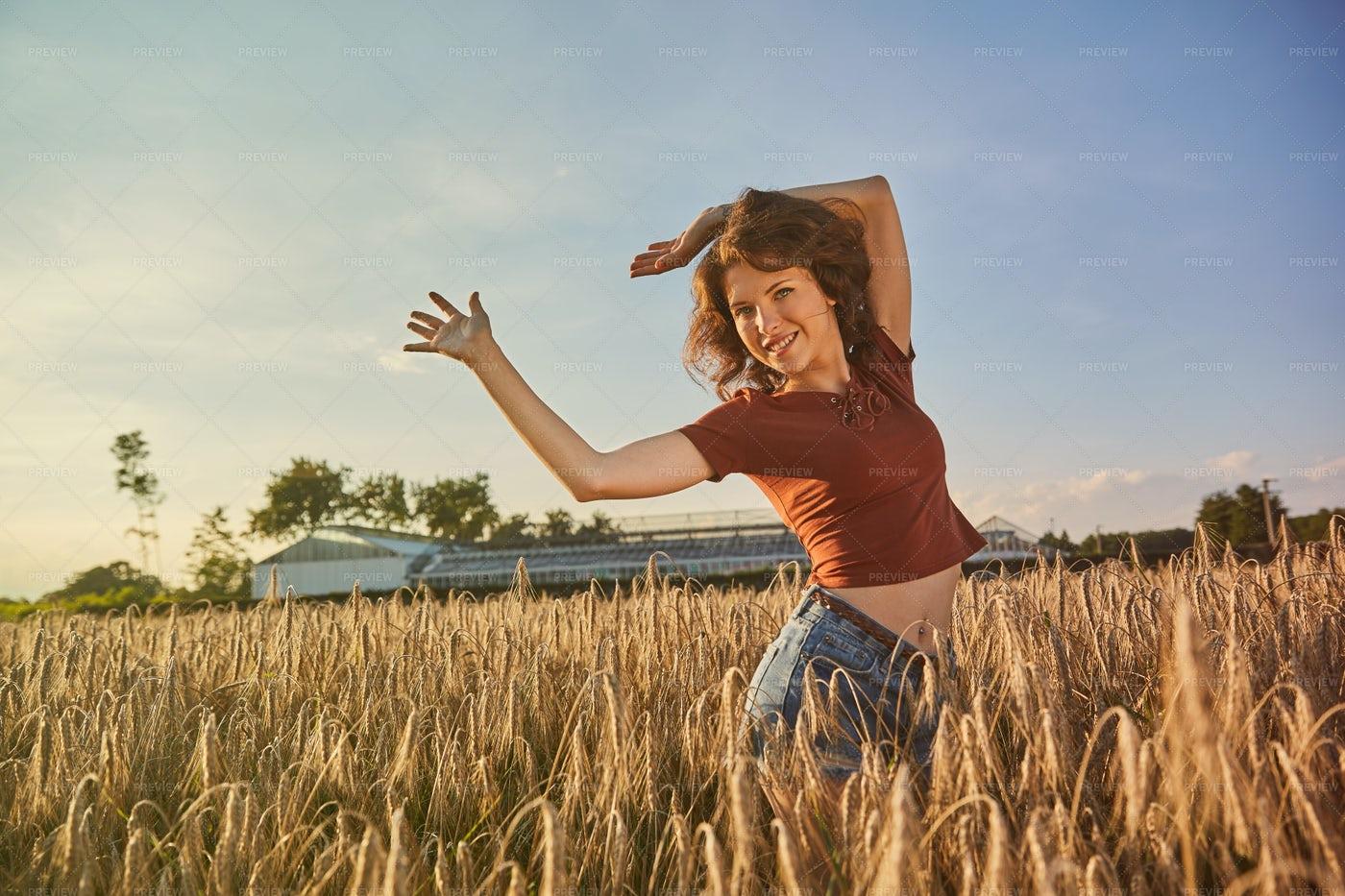 Happy Woman On Summer: Stock Photos
