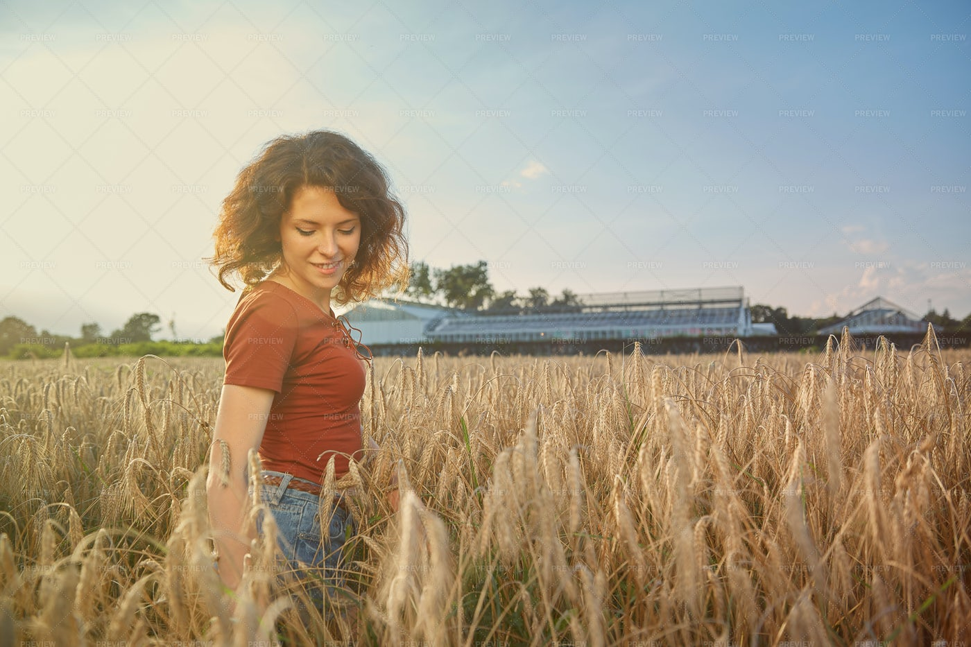 Woman In A Field: Stock Photos