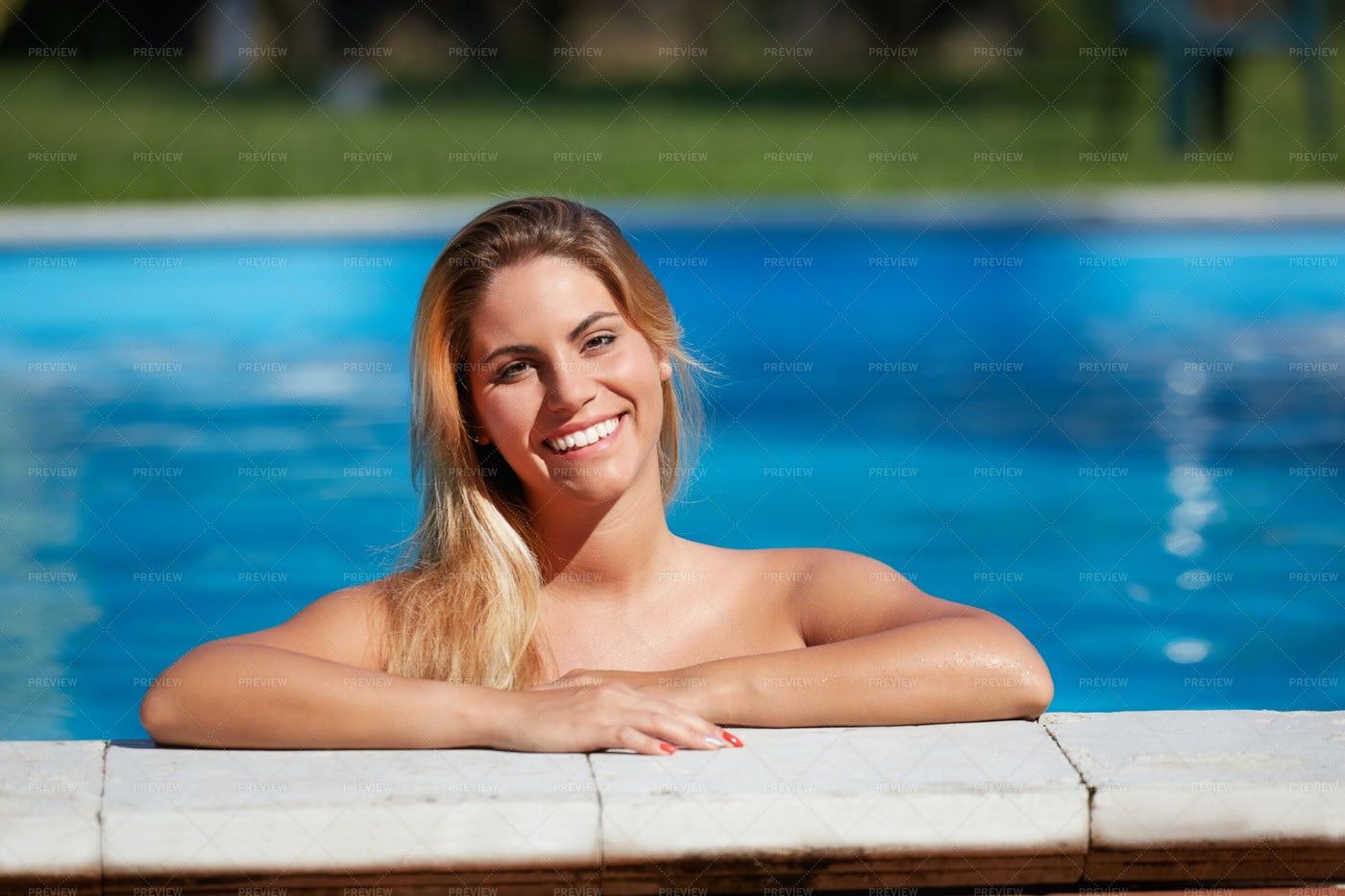 Woman In The Pool: Stock Photos