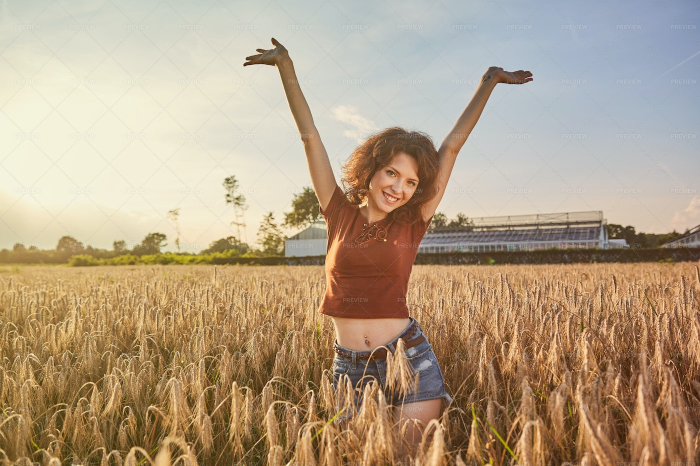Smiling In A Field: Stock Photos