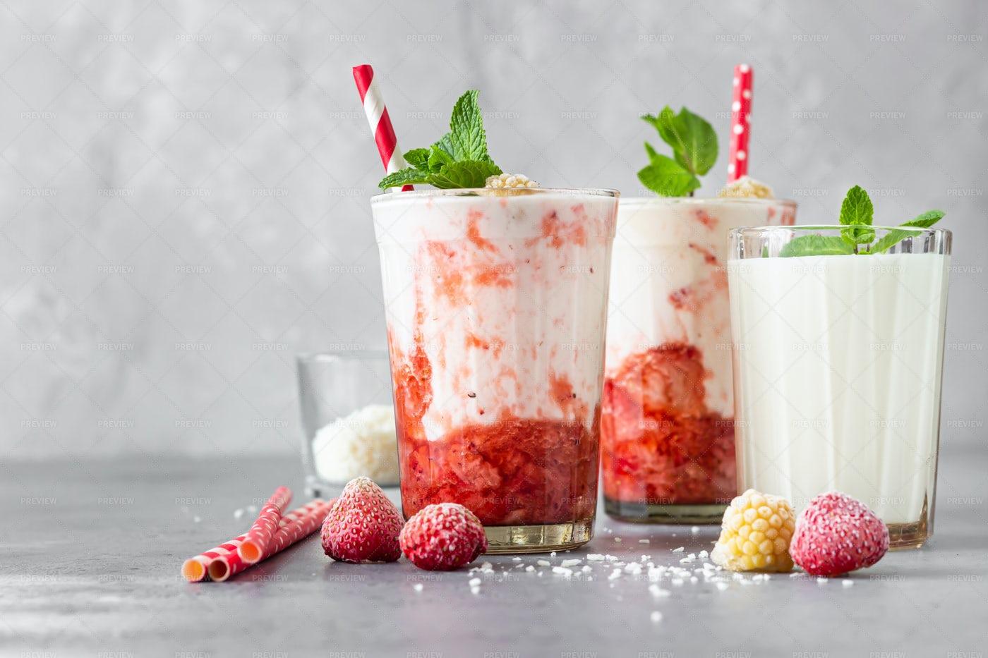 Strawberry And Raspberry Smoothie: Stock Photos