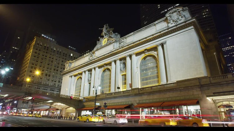 Grand Central Station NYC Night Time Lapse: Stock Video