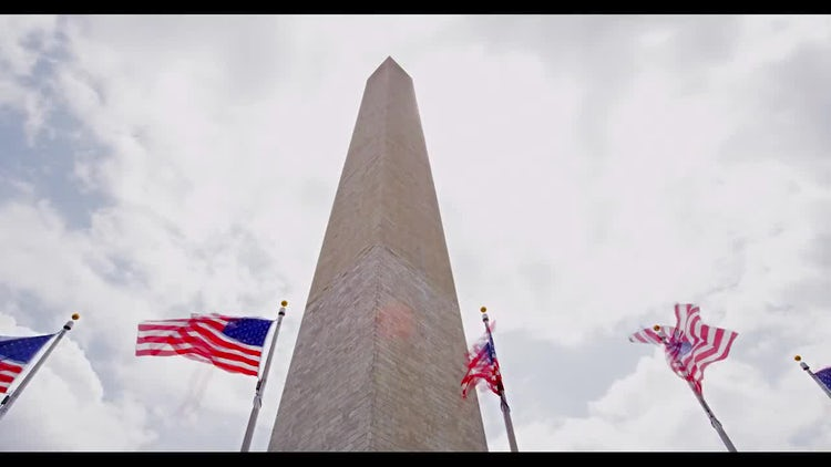 Flags with Washington Monument In DC Time Lapse: Stock Video