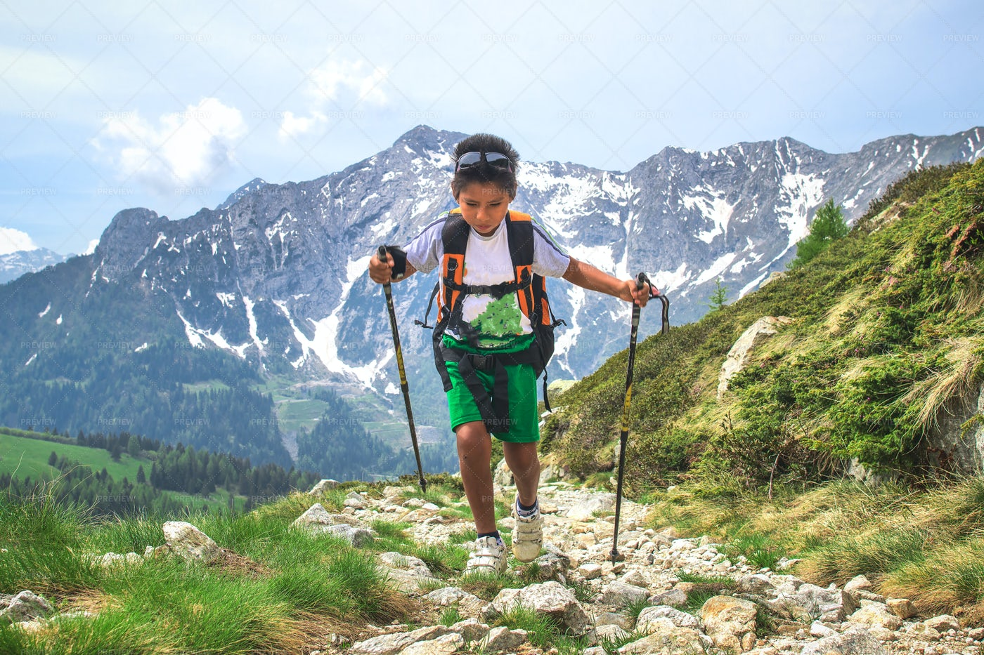 Young Boy On A Hike: Stock Photos