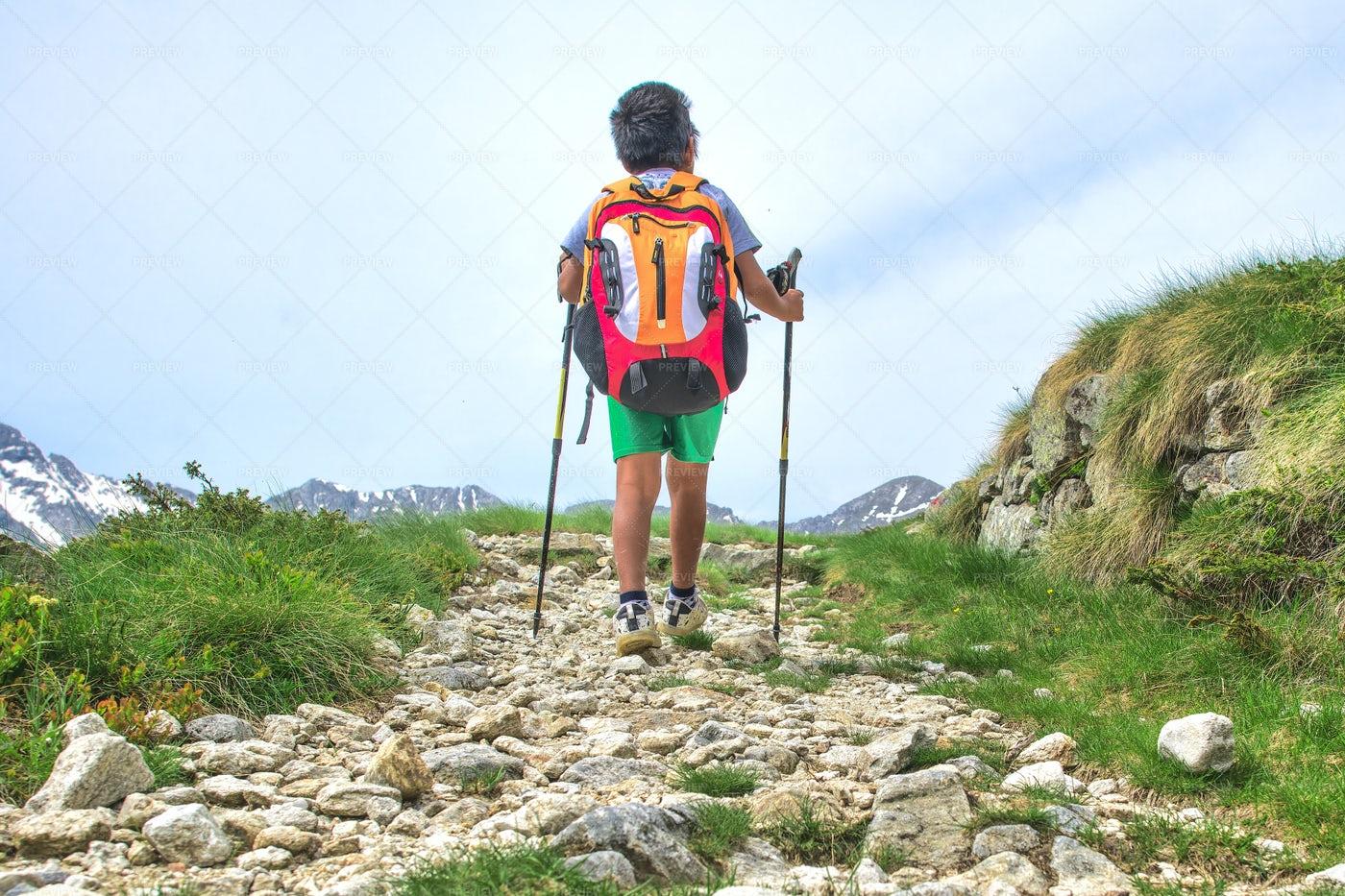Boy Walking A Trail: Stock Photos
