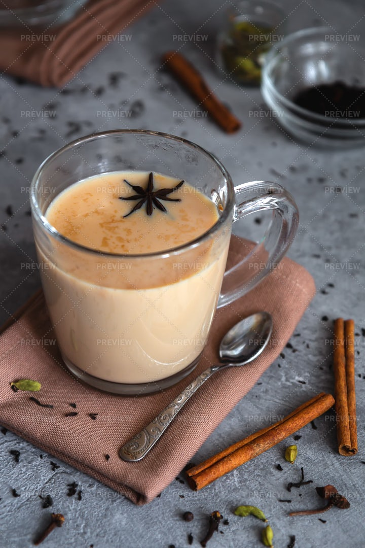 Masala Tea In A Glass Mug: Stock Photos