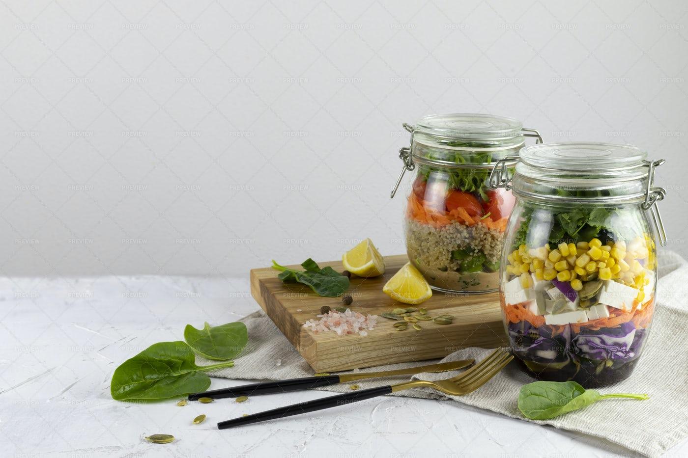Vegetable Mason Jar Salad: Stock Photos