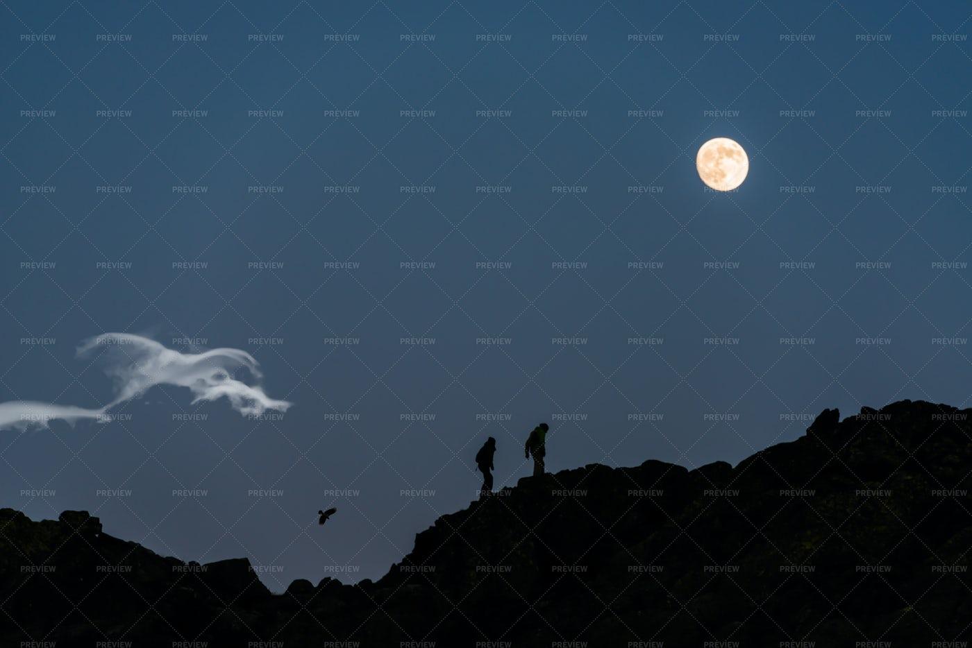 Walking Under The Moon: Stock Photos