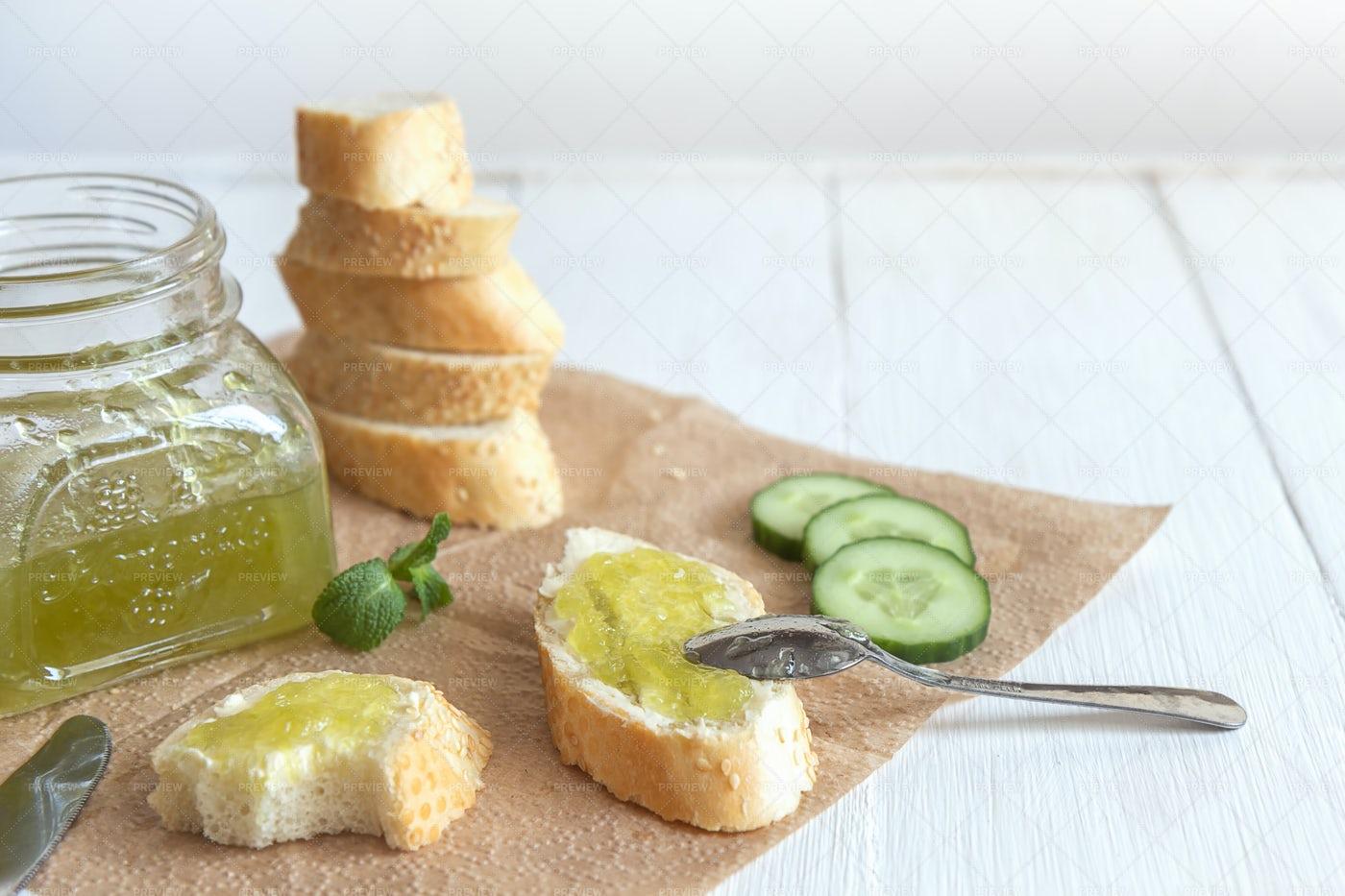 Cucumber Jam And Baguette: Stock Photos