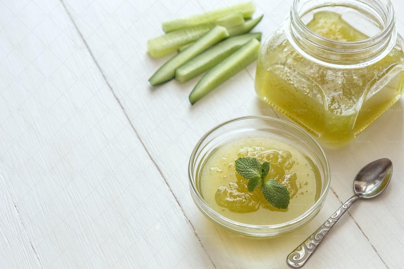 Cucumber Jam In Glass Bowl: Stock Photos