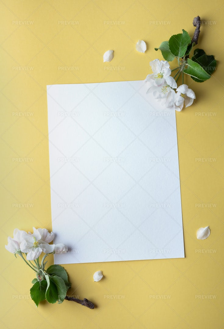Paper Sheet With Flowers: Stock Photos