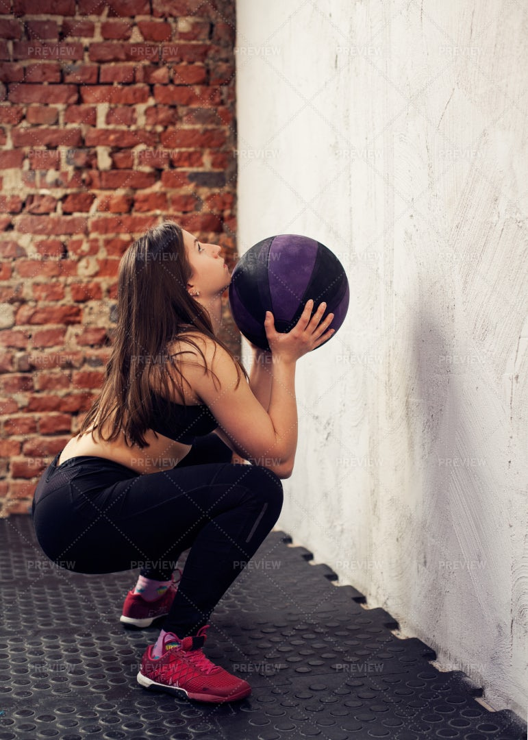 Wall Ball Workout: Stock Photos
