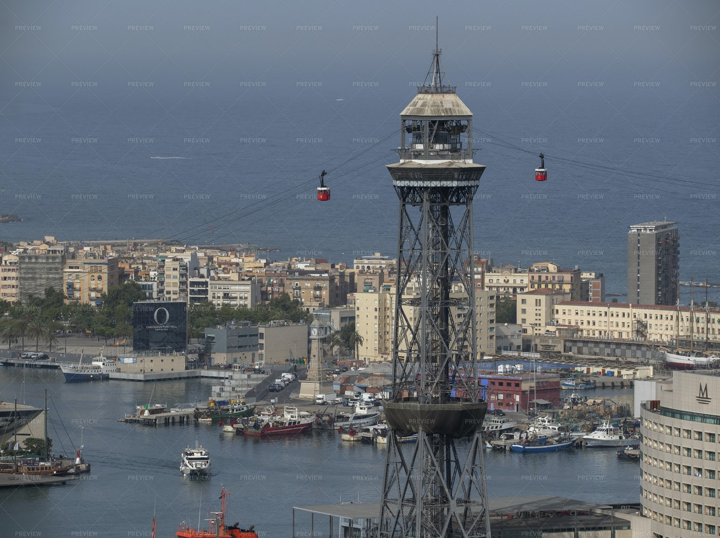 Barcelona Port And Mountains: Stock Photos