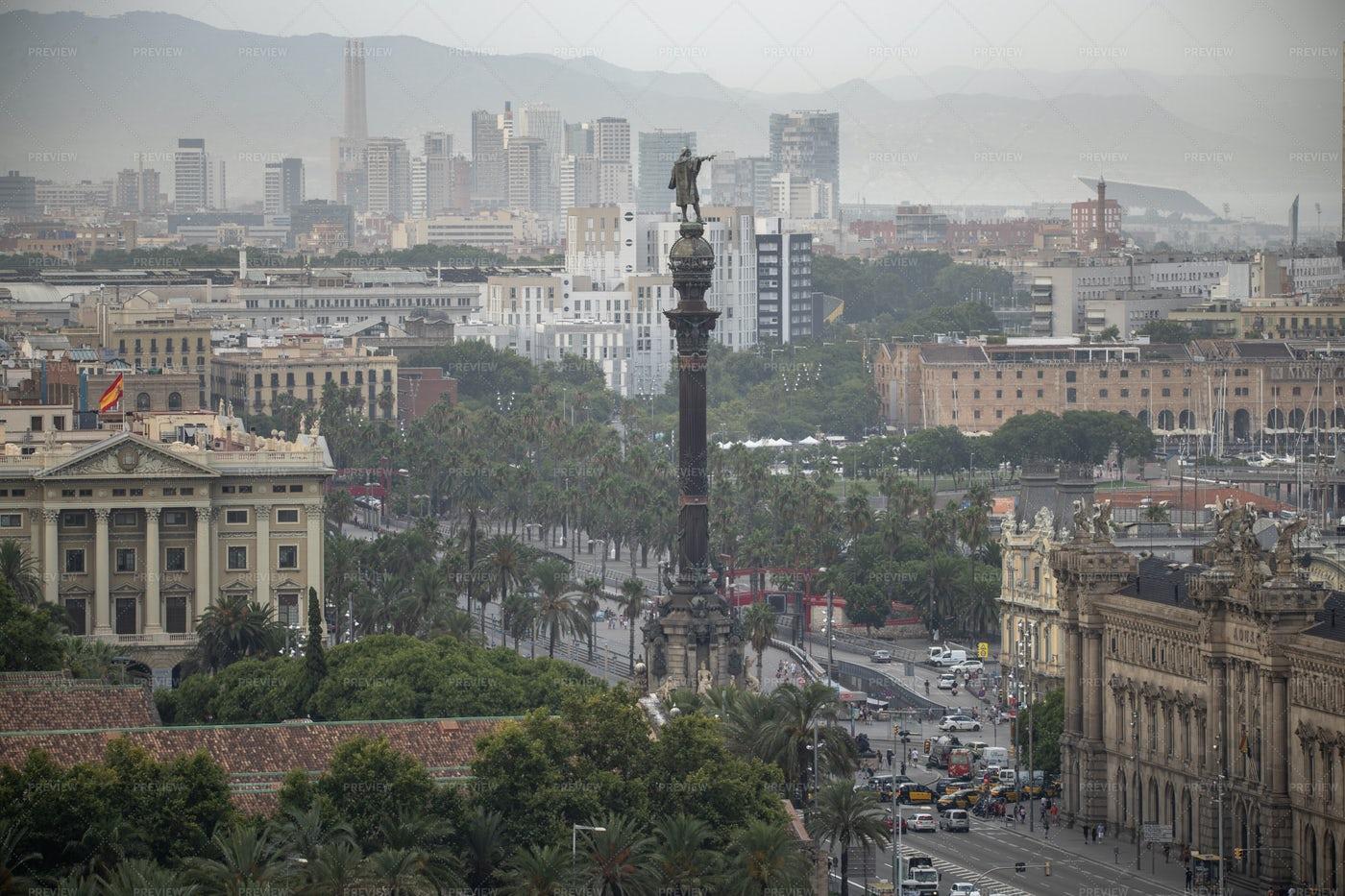 Colon Statue In Barcelona: Stock Photos