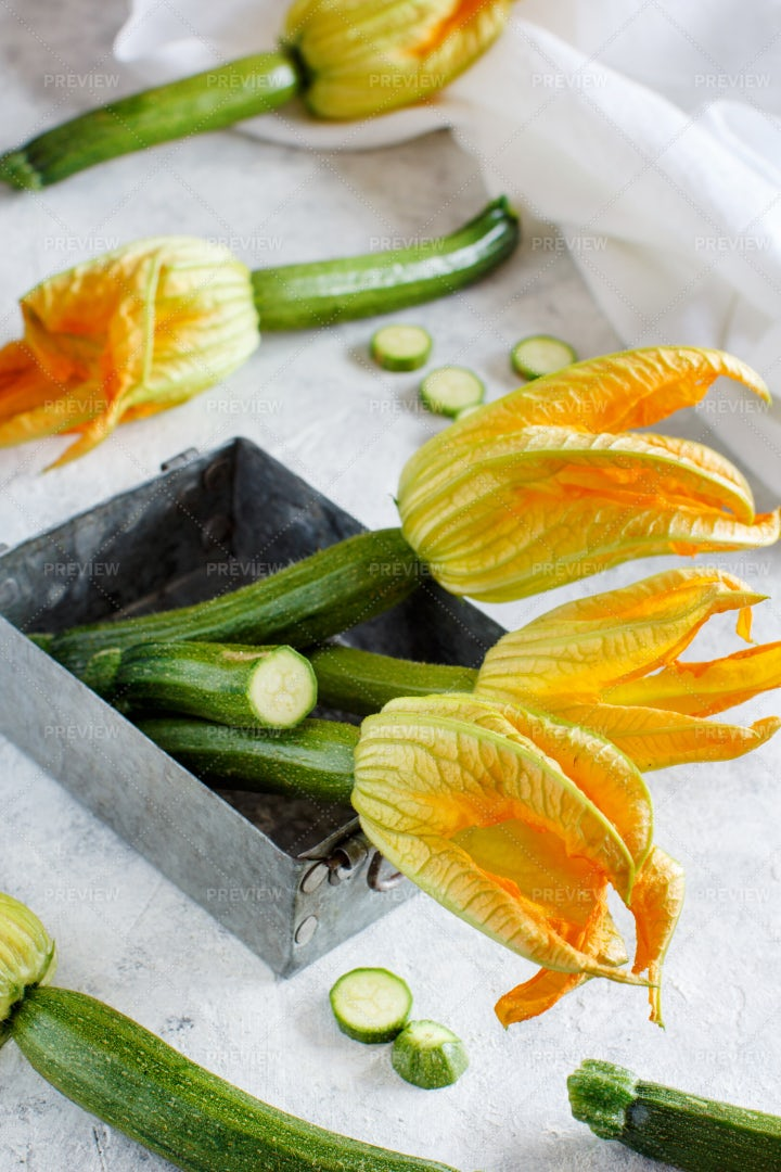 Zucchini With Flowers: Stock Photos