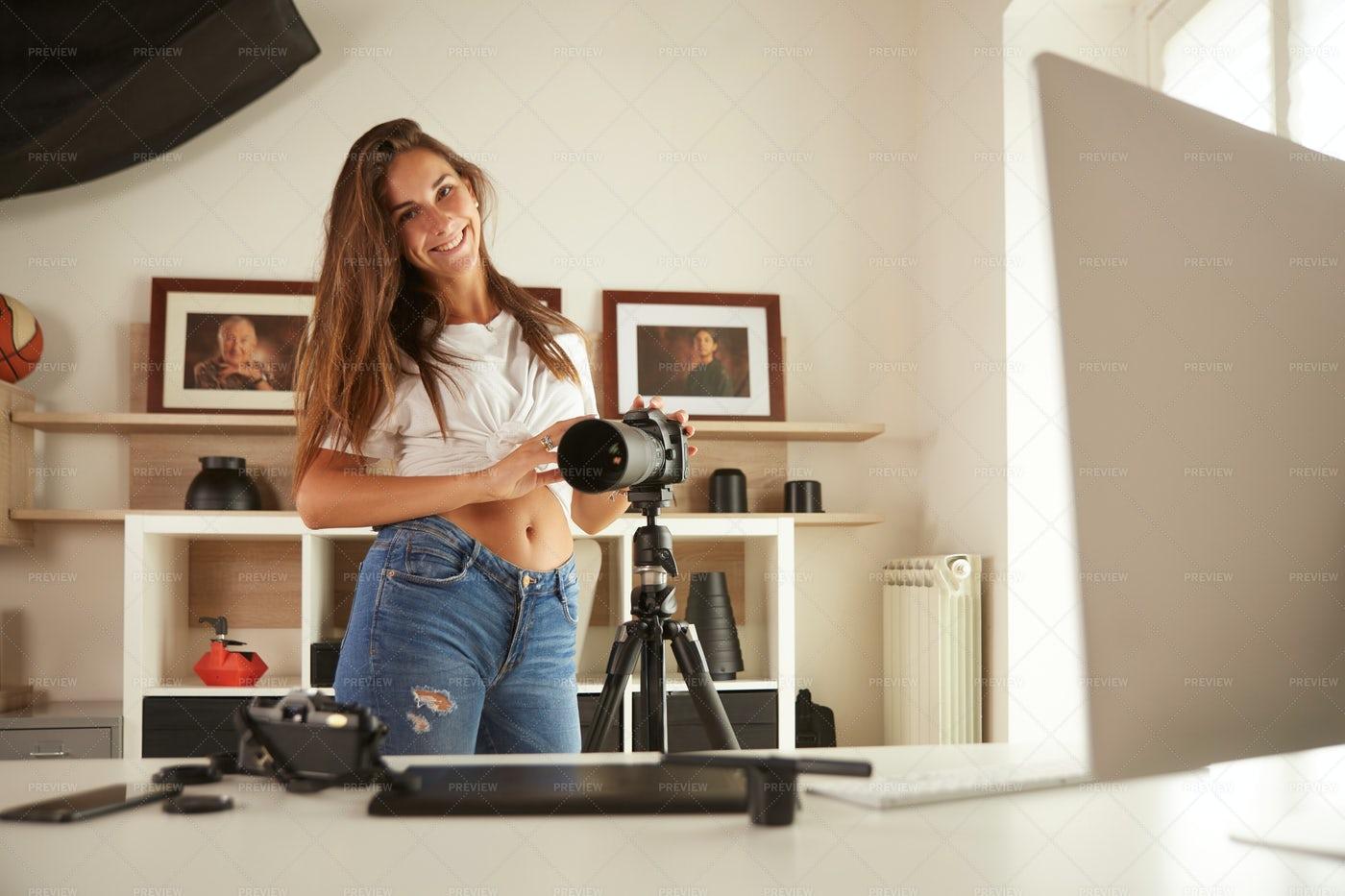 Setting Up Her Camera: Stock Photos