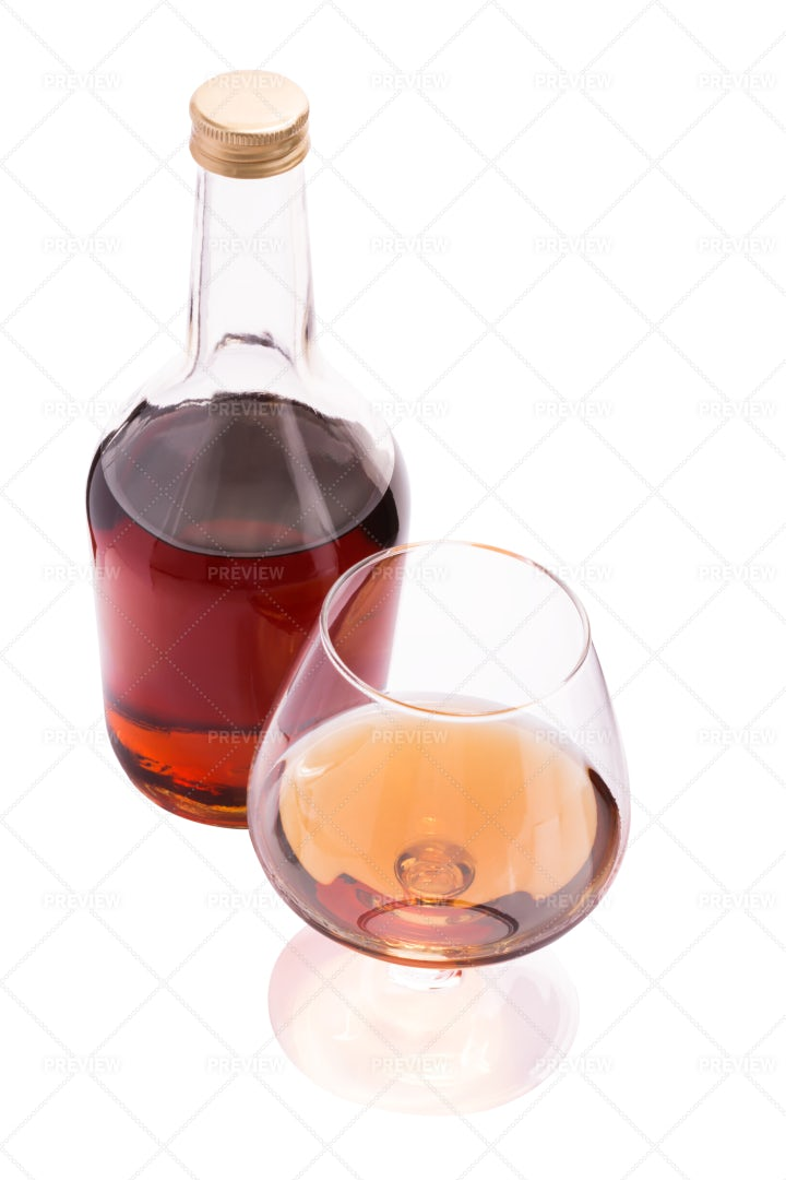 Bottle And Glass Of Cognac: Stock Photos