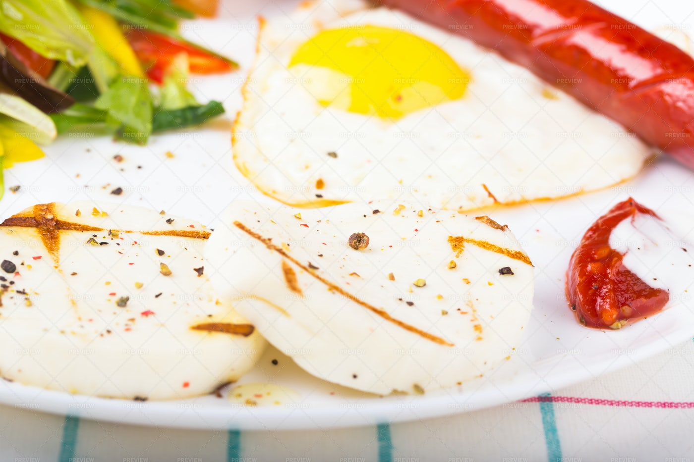 Fried Eggs And Cheese: Stock Photos