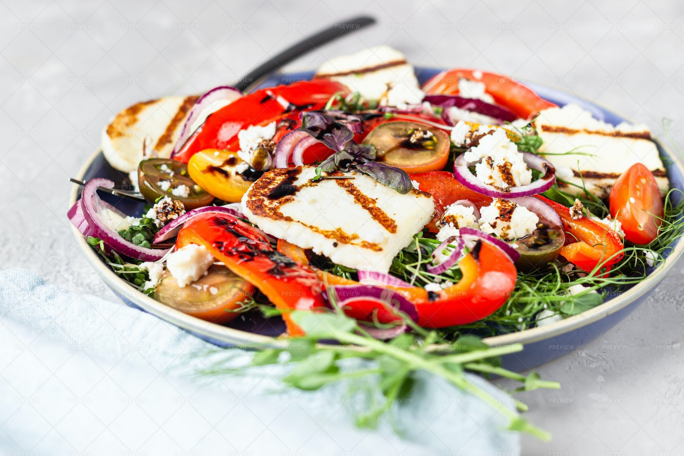 Grilled Cheese Salad: Stock Photos