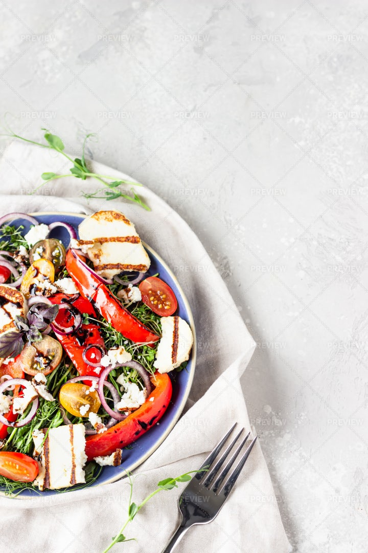 Salad With Cheese And Vegetables: Stock Photos
