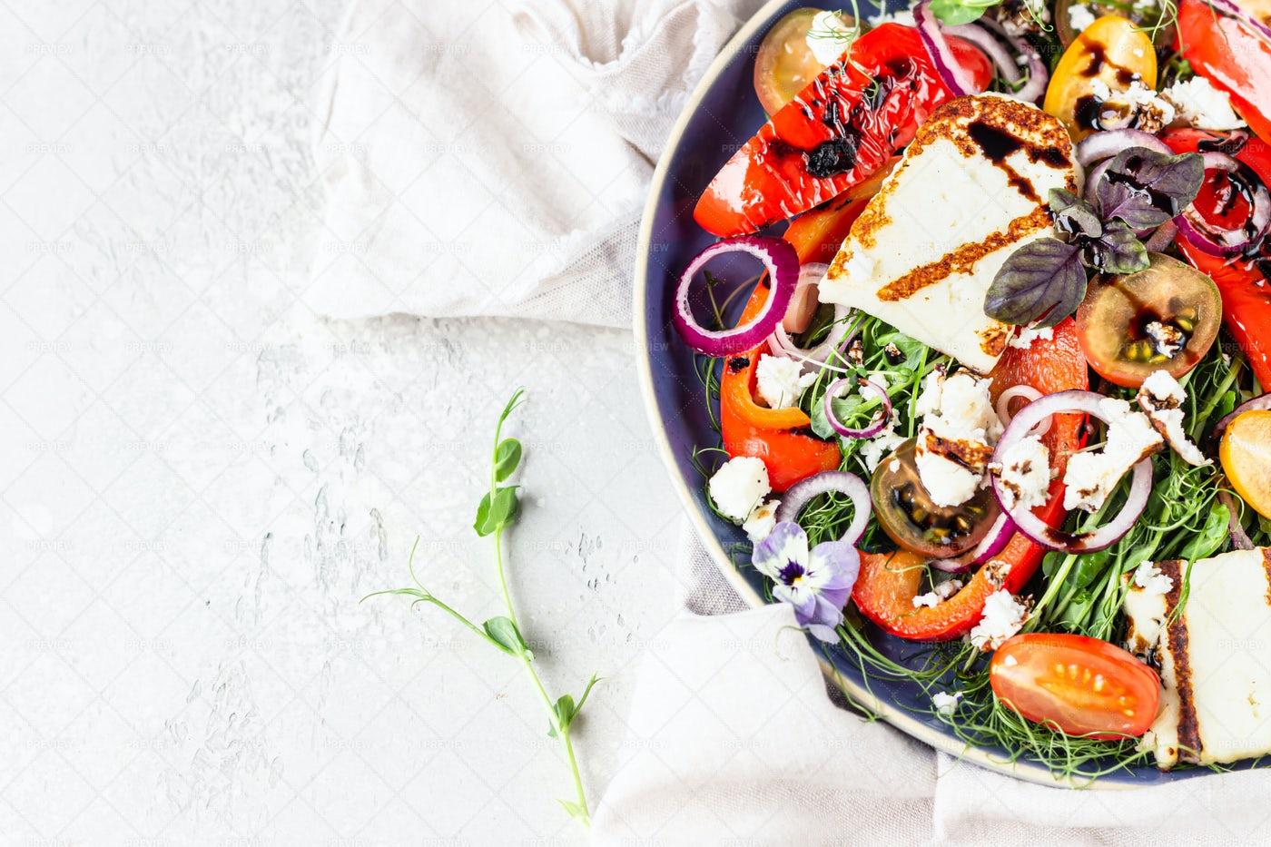 Grilled Haloumi Cheese Salad: Stock Photos