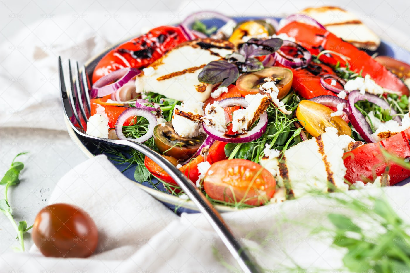 Salad With Grilled Cheese: Stock Photos