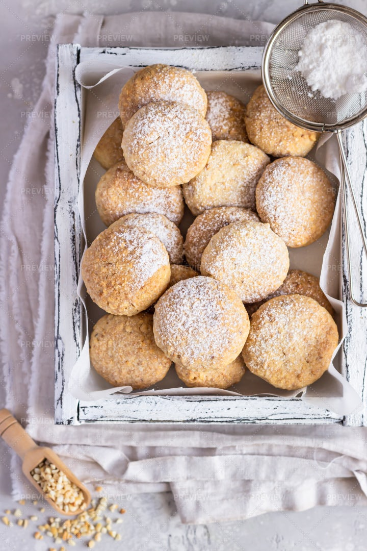 Cookies With Powdered Sugar: Stock Photos